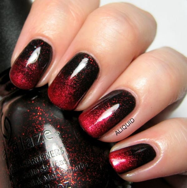 Red and Black Ombre Nail Design