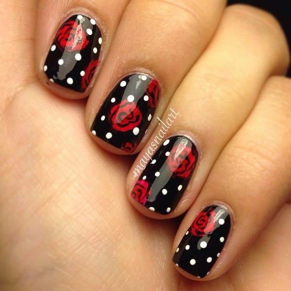 Rose and Dots Nail Design
