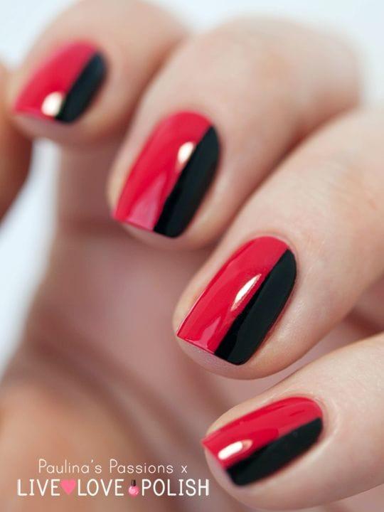 Simple Red Black Nail Design