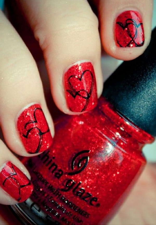 Heart Shaped Black and Red Design