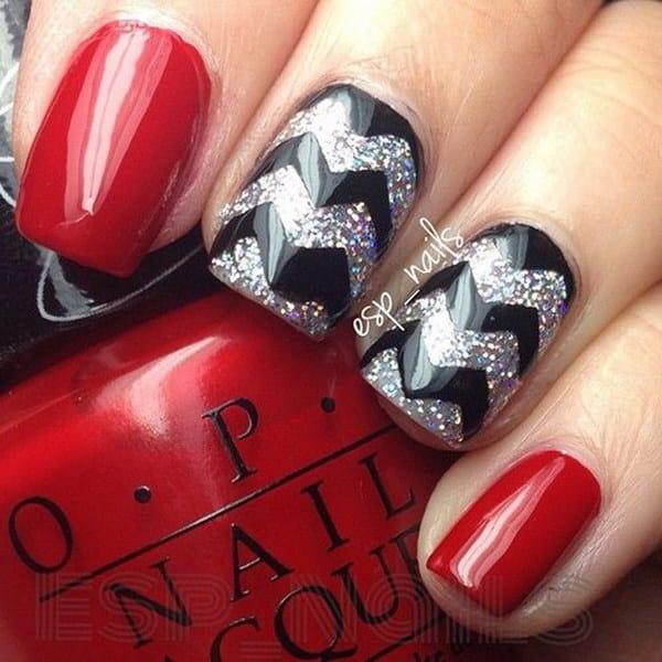 Red and Black Chevron Nail Design