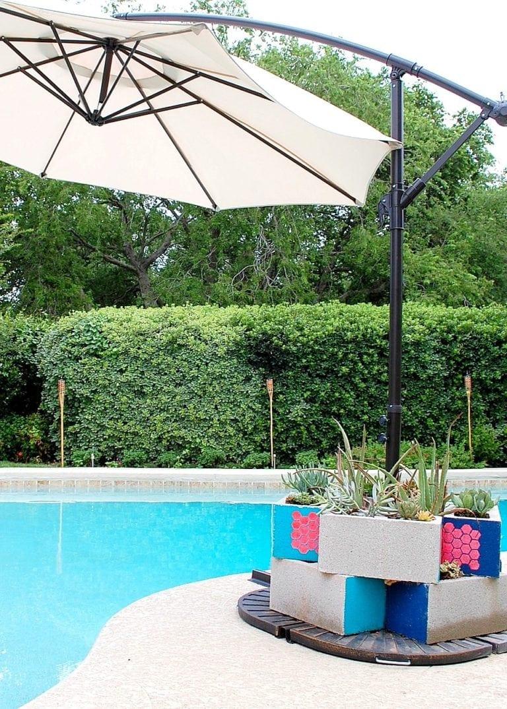 Cinder block pool planter
