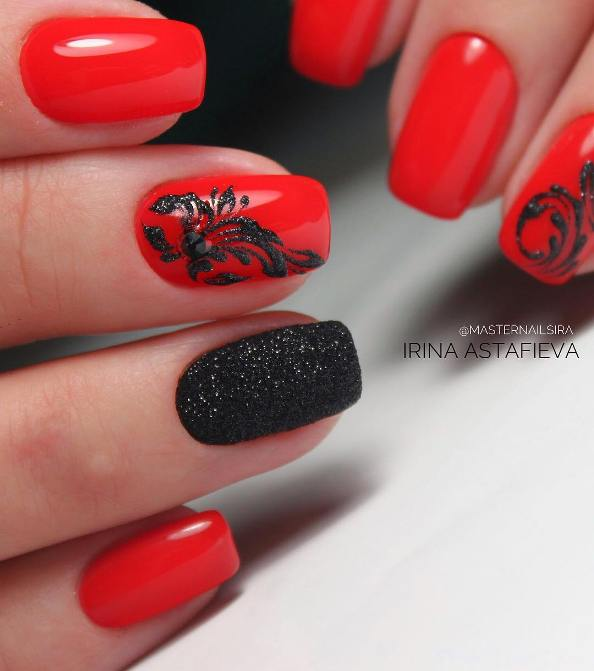 Textured Black and Red Nail Design