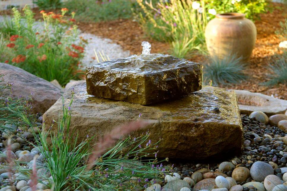 Stone on stone water feature