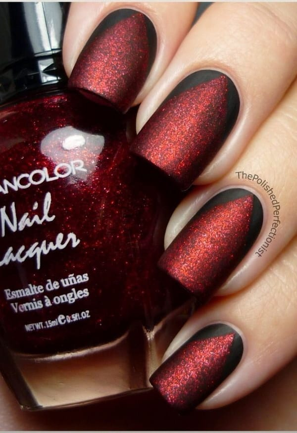 Matte Red and Black Nail Design
