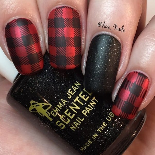 Plaid Red and Black Nail Design