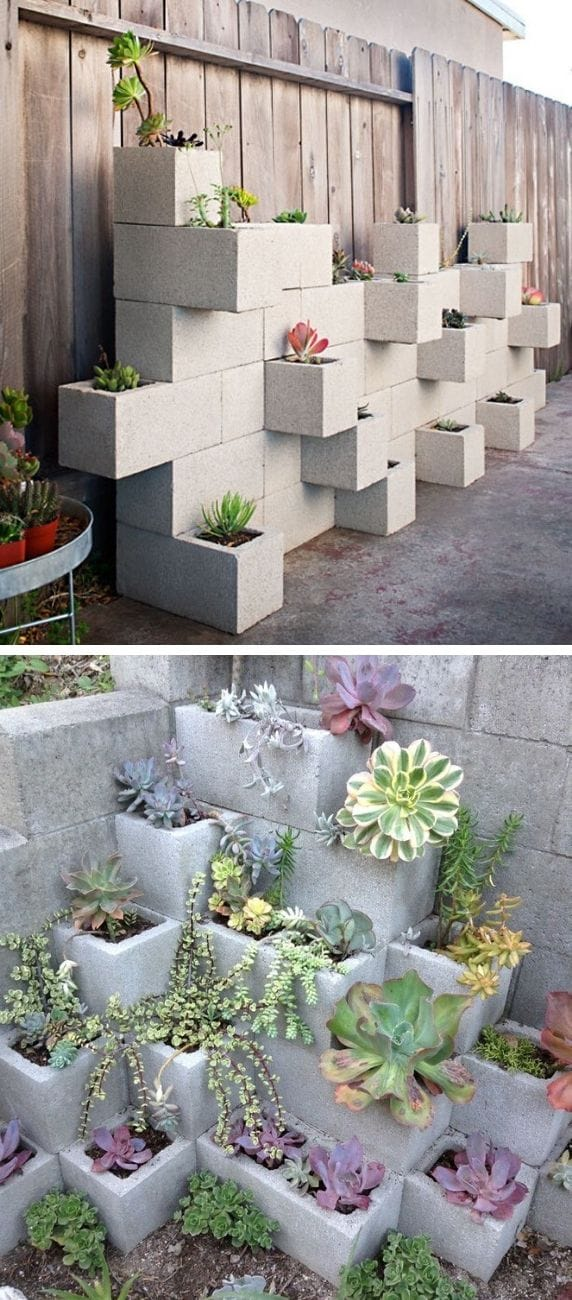 Cinder block succulent planters