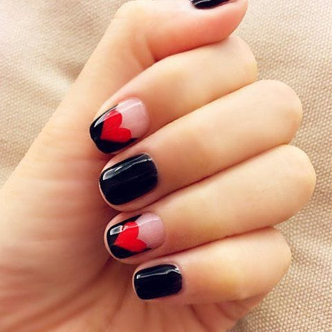 French Heart Red and Black Nail Design