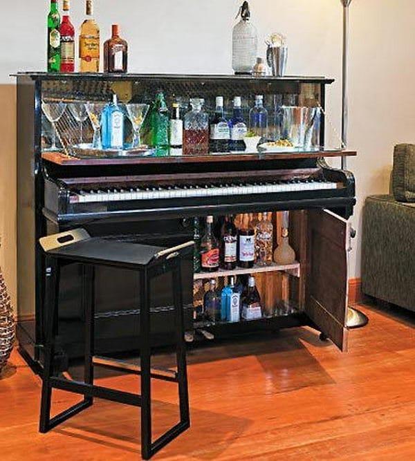 Repurposed Old Piano into a Wine Rack