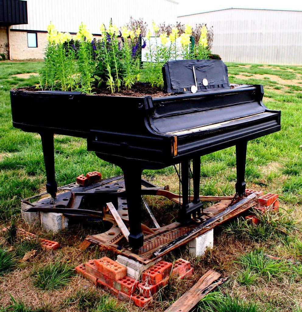 Repurposed Old Piano into Flowering Planter