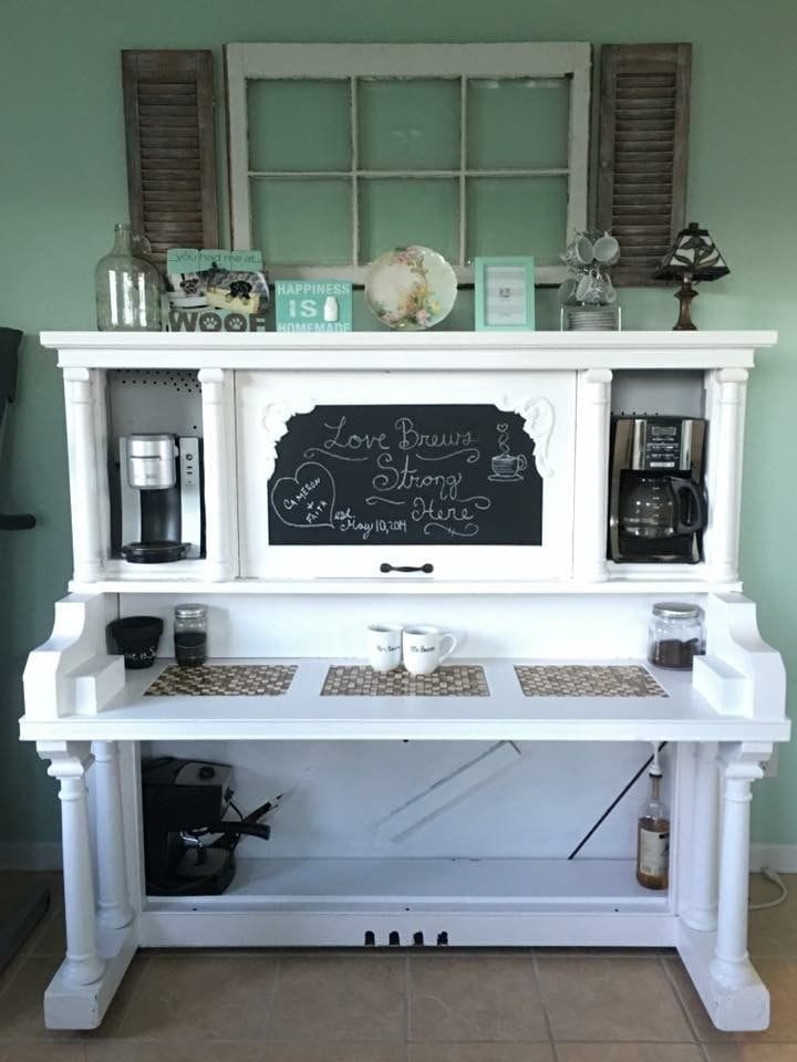 Repurposed Old Piano into Coffee Brewing Table