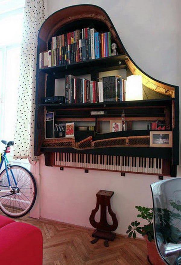 Repurposed Old Piano into a Book Shelf
