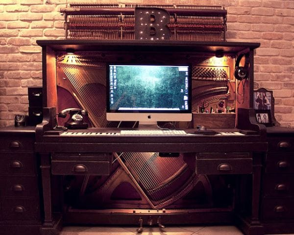Repurposed Old Piano into an Office Workspace
