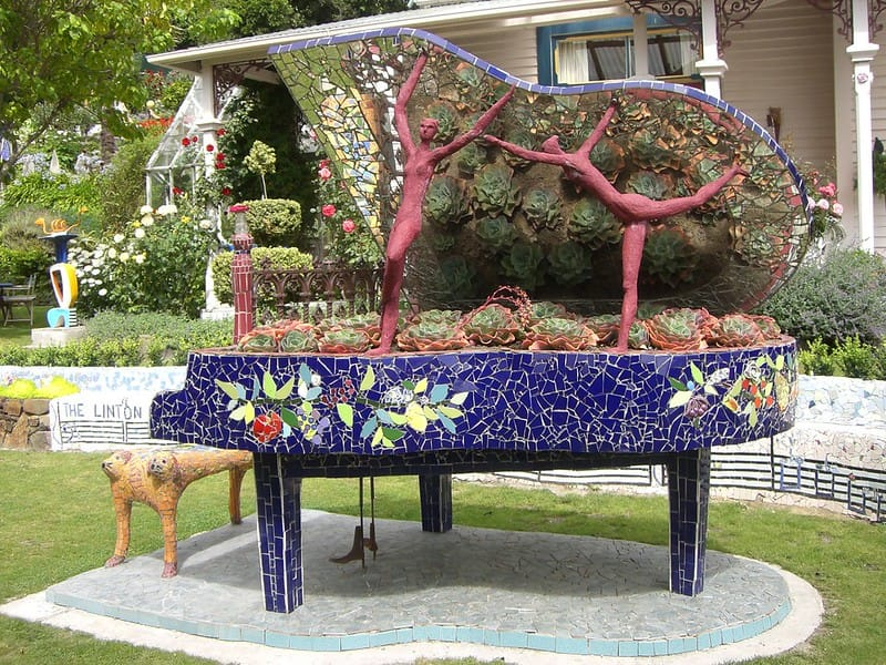 Repurposed Old Piano into a Outdoor Sculpture