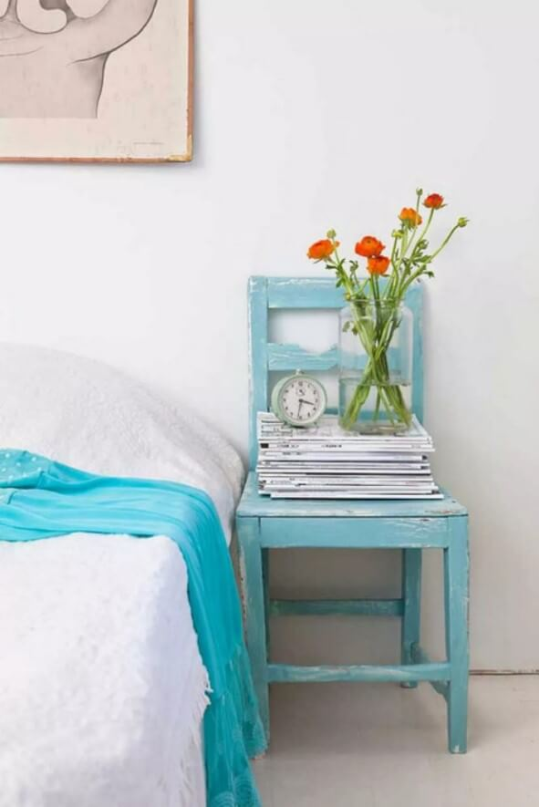 Wooden Chair Bedside Table
