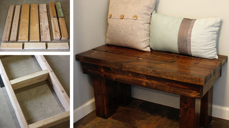 Farmhouse Style Rustic Wooden Bedroom Bench