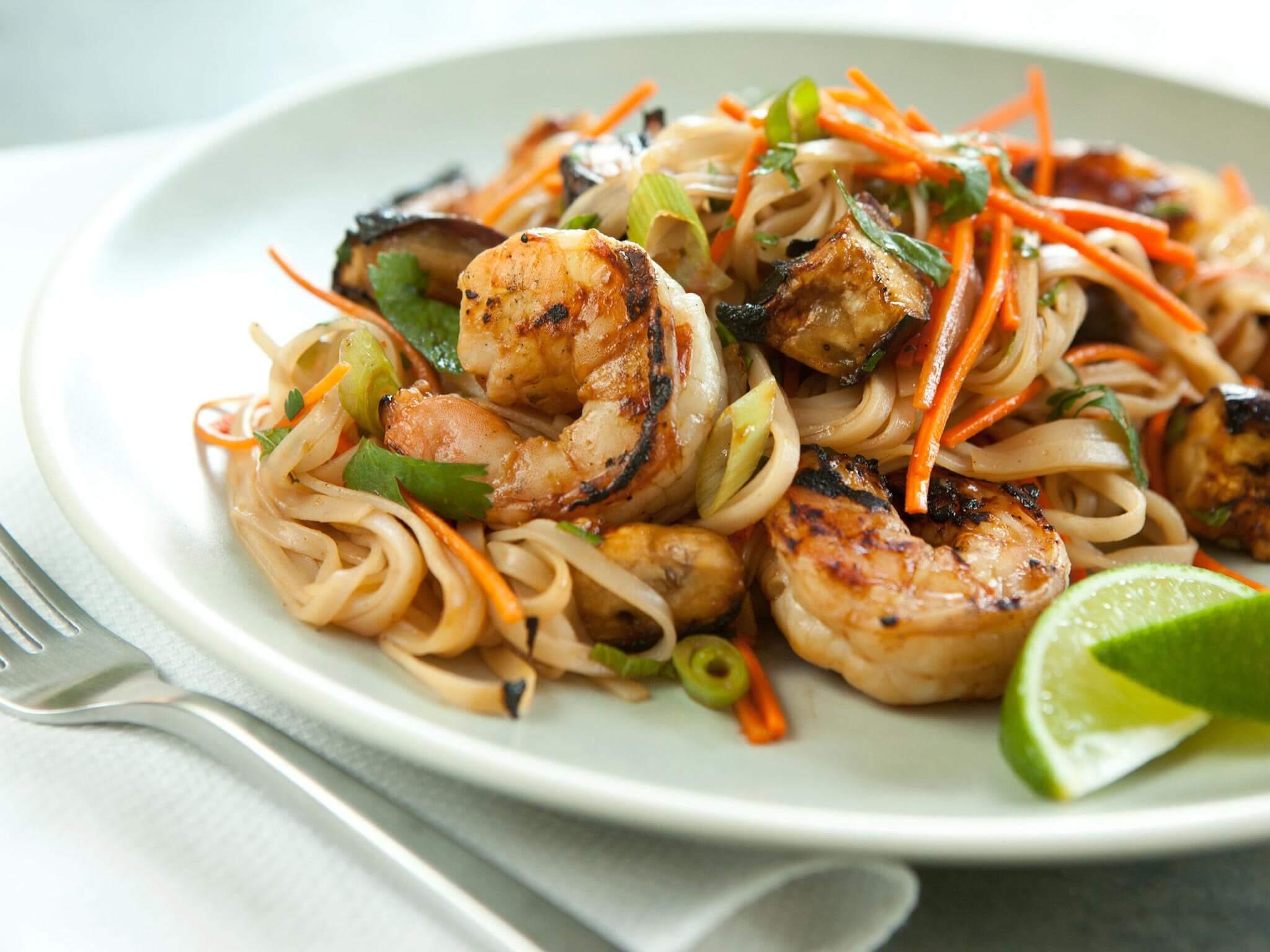 Grilled Shrimp and Eggplant Summer Noodle Bowls