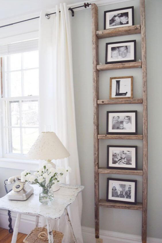 Wooden Ladder Photo Stand Display