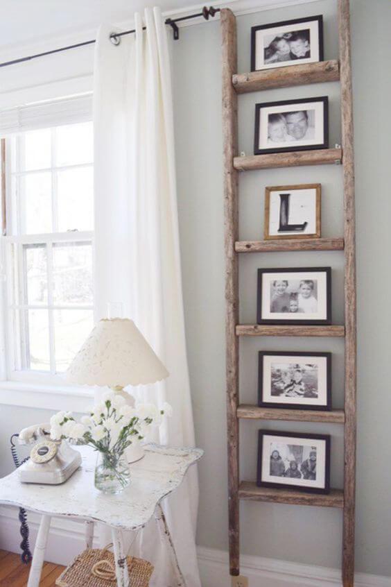 Wooden Ladder Photo Stand Display